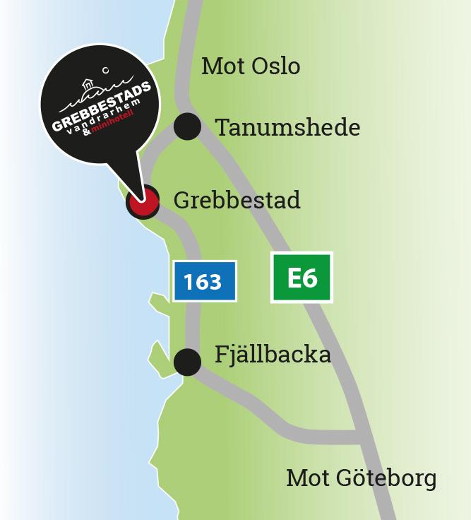 Karta E6 Goteborg.Grebbestadsvandrarhem Hitta Hit
